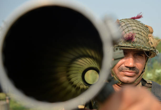 An Indian Army Personnel with A Rocket Launcher