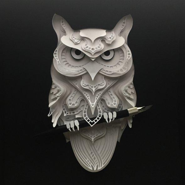 Patrick Cabral behance arte animais papel cortado espécies ameaçadas extinção wwf Coruja