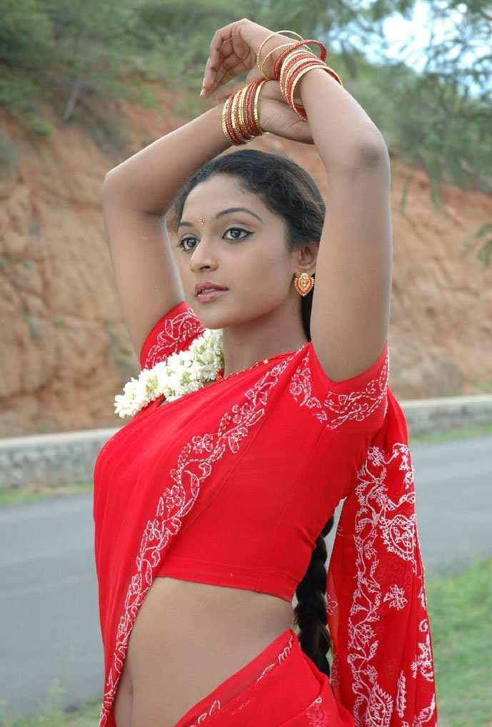 Actress Akshaya Red Saree Navel Photos  Actress Saree -8390