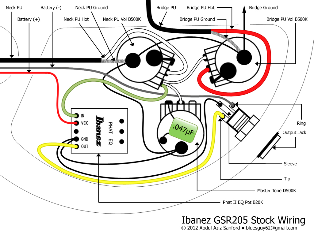 CA Gear Blog: Ibanez GSR205 Stock Wiring