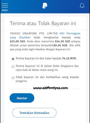 Cara buat duit online, YouGov Survey, cara tebus RM70 duit paypal YouGov survey, cara cashout payment YouGov ke akaun bank, cara redeem payment YouGov ke akaun Paypal,