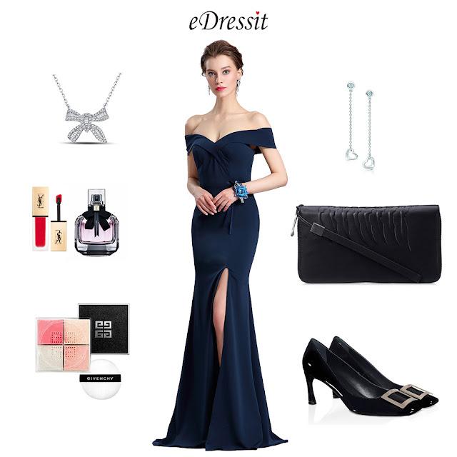 New Navy Blue Off Shoulder Slit Prom Evening Dress eDressit