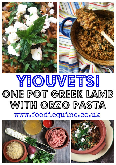 Yiouvetsi www.foodiequine.co.uk Wham Bam Lamb! A quick and easy onepot midweek meal using Scotch Lamb mince. Yiouvetsi - Greek Minced Lamb with Orzo pasta. Full of flavour and on the table in less than 30 minutes. Yiovetsi traditionally combines minced lamb with tomato, oregano, cinnamon and orzo. I added a bag of spinach to boost the vegetable content and black olives as along with Feta they always scream Greece to me.