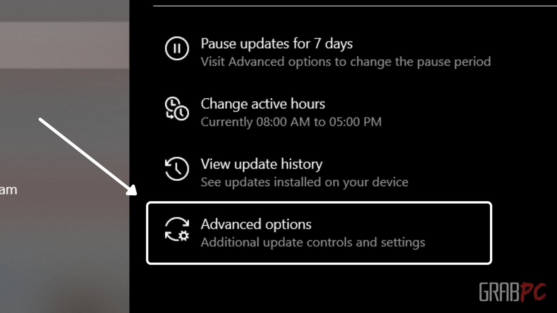 update and security advanced options settings