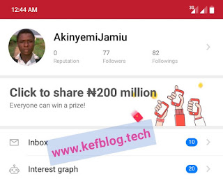 On the Me Page tap click to share 200 million
