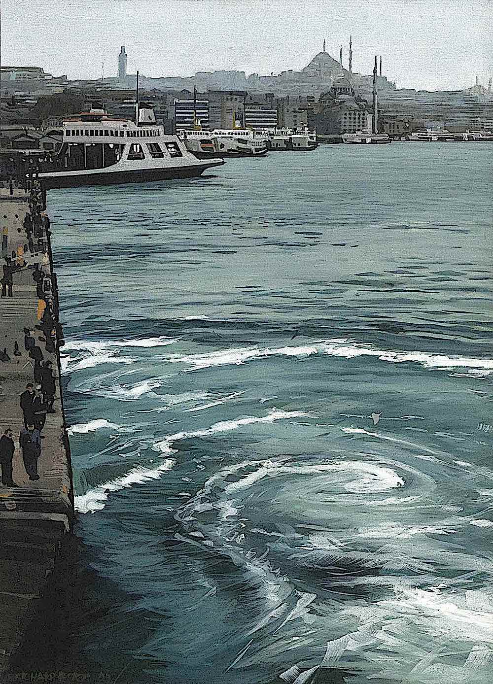 a Richard Estes painting of big city docks with people and ferries