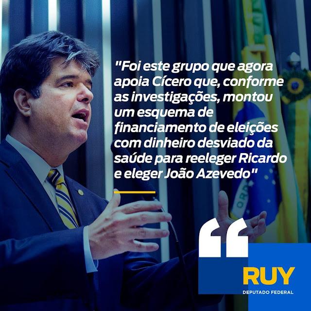 """""""Cícero se associa aos líderes do maior escândalo de corrupção da Paraíba, aqueles que o denunciaram no passado"""", alerta Ruy"""