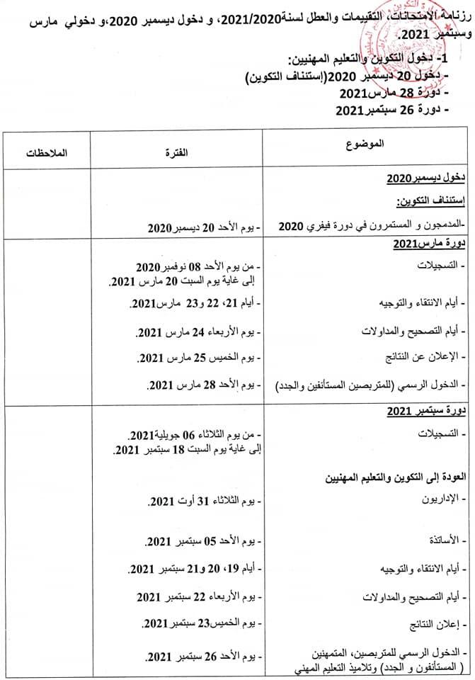 وزارة التكوين والتعليم المهنيين تحدد رزنامة الإمتحانات والتقييمات والعطل