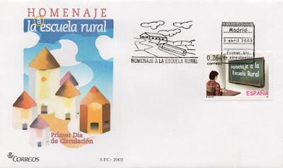 Sobre PDC del sello del homenajea a la Escuela Rural. Matasellos de Madrid