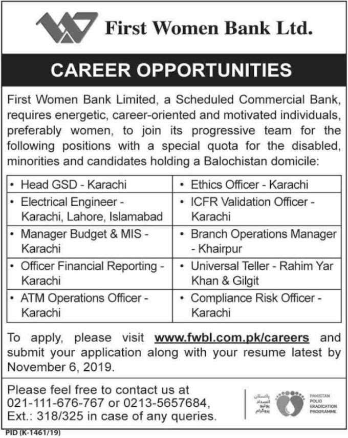 First Women Bank Limited Jobs 2019 Last Date 6 November