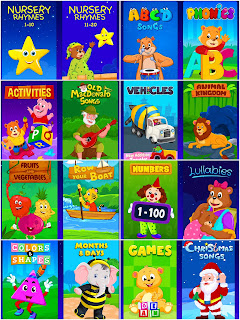 The categories of KidloLand: Nursery Rhymes, ABCD Songs, phonics, Activities, Old MacDonald songs, Vehicles, Animal Kingdom, Fruit & Vegetables, Row the boat, Numbers, Lullabies, Colours and Shapes, Month and days, Games and Christmas Songs