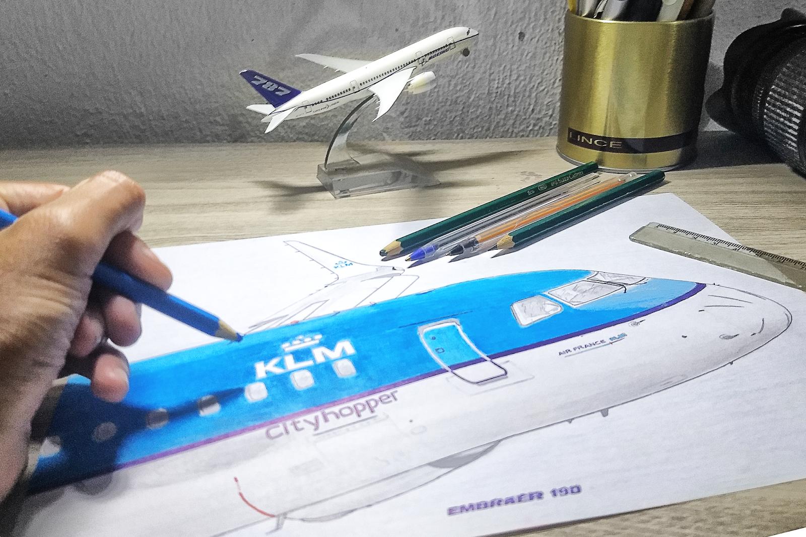 Desenho de avião – KLM 100 anos e Embraer 50 anos – Uma obra de Herbert Monfre –  by É MAIS QUE VOAR