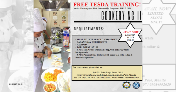 Cookery NC II under TWSP | AVAIL NOW (Limited Slots Only)
