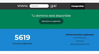 O sitio web dominio.gal mostra o número de dominios rexistrados