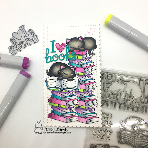 I {heart} books by Claire features Newton's Book Club by Newton's Nook Designs; #inkypaws, #newtonsnook, #cardmaking