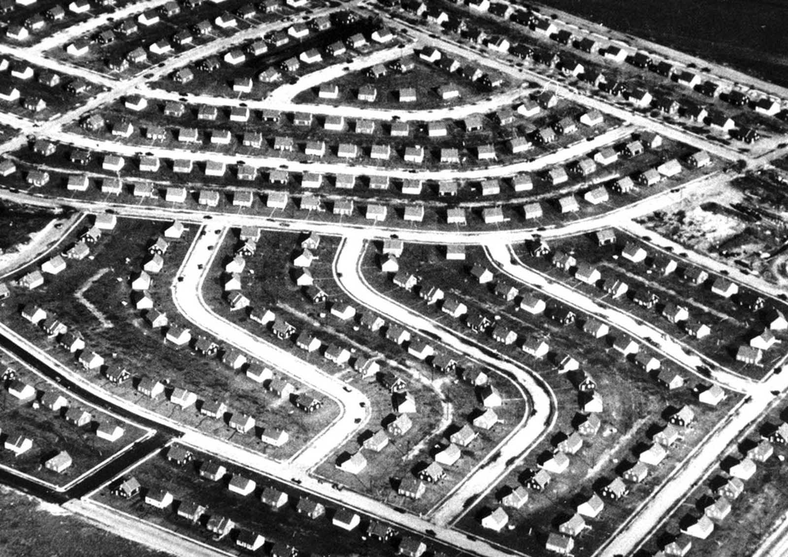 This aerial file photo shows a portion of Levittown, New York, in 1948 shortly after the mass-produced suburb was completed on Long Island farmland in New York. This prototypical suburban community was the first of many mass-produced housing developments that went up for soldiers coming home from World War II. It also became a symbol of postwar suburbia in the U.S.