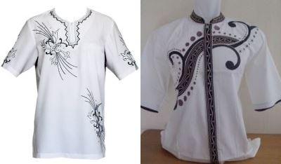 Baju koko lengan pendek dengan motif yang elegan