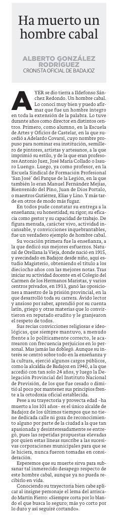 Ildefonso Sánchez Redondo Un hombre Cabal