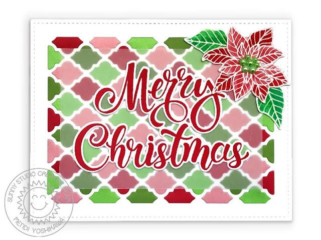 Sunny Studio Poinsettia Handmade Holiday Christmas Card (using Classy Christmas, Season's Greetings Stamps & Frilly Frames Quatrefoil Dies)