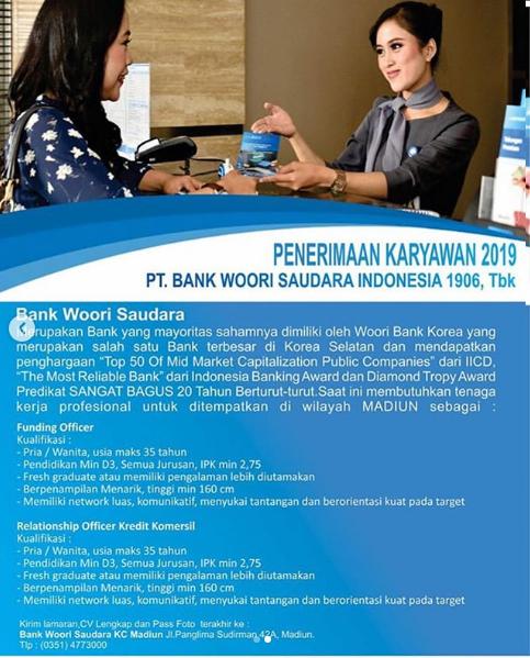 Penerimaan Karyawan Bank Woori Saudara Indonesia November 2019