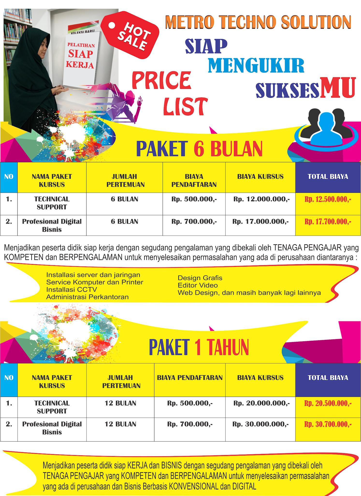 Daftar Harga Kursus Komputer Terbaik Lampung Paket 6 bulan dan 1 tahun