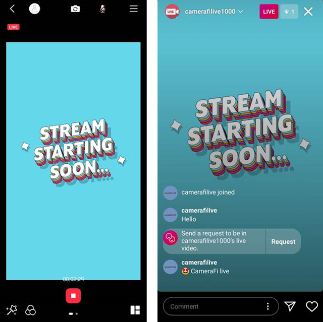 How to Start Instagram Live with CameraFi Live - 7. Click the GO button. Then, you can watch your live video on Instagram.