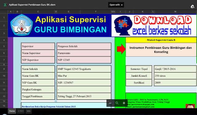 Download Aplikasi Supervisi Guru Bimbingan Konseling Lengkap Format Excel