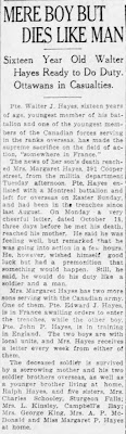 """""""Mere Boy But Dies Like Man,"""" The Ottawa Citizen, 9 Nov 1916, p. 10, col. 2; digital images, Newspapers.com(www.newspapers.com : accessed 19 Jul 2019)."""