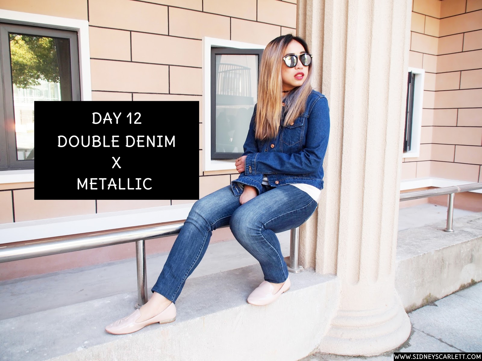 This is a photo of styling denim on denim with metallic by Sidney Scarlett from www.sidneyscarlett.com
