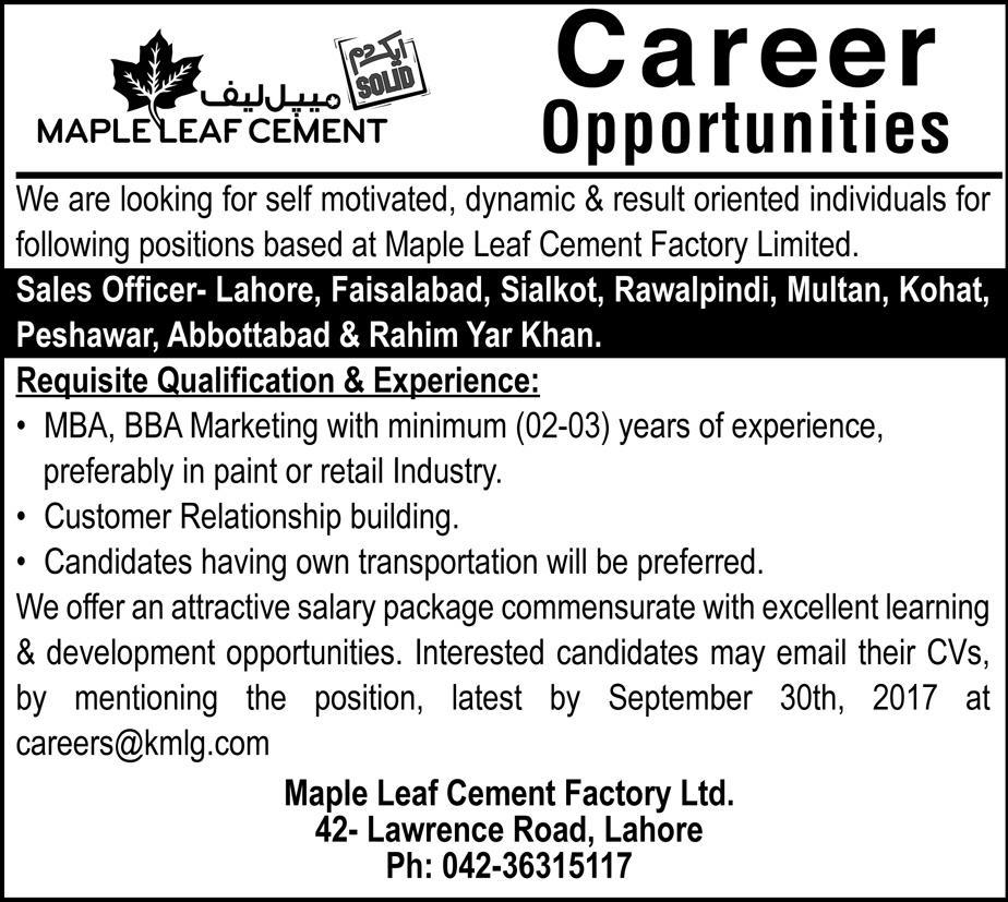 Jobs In Maple Leaf Cement Punjab Sep 2017