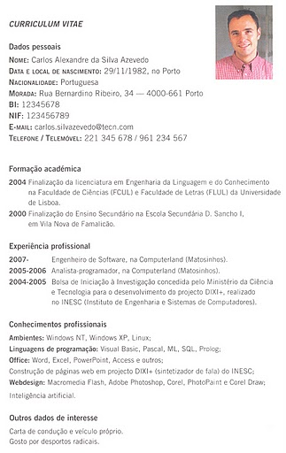 """Português """"curriculum Vitae""""  Modelo Simples"""