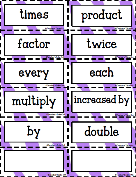 Key Words Multiplication Division