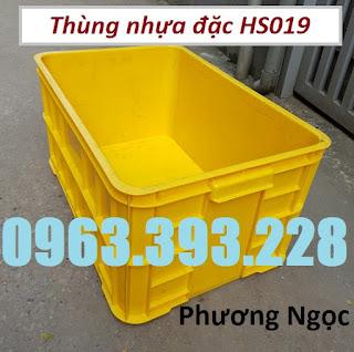 Thùng nhựa đặc, sóng nhựa bít HS019, thùng nhựa công nghiệp, thùng nhựa đặc HS019