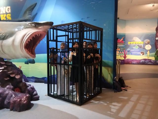 Di zona Shark Alley, dipandu oleh Kang Andhika yang super ramah orangnya. Yes, di sini kita bisa belajar banyak hal baru tentang berbagai macam ikan hiu. Tak hanya itu, di sini kita juga bisa foto ala-ala. Foto masuk dalam kerangkeng kek di penjara gitu, yang depannya ada ikan hiu besar seolah-olah mau makan kita…so histeris deh, ekpresi kita pas foto di sini.