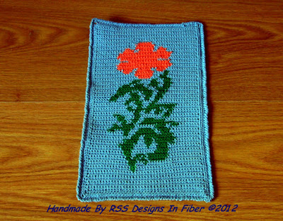 Orange Poppy Crochet Tapestry Table Decor - Handmade By Ruth Sandra Sperling at RSS Designs In Fiber