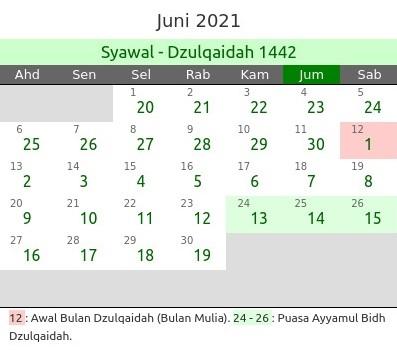 Kalender Islam Bulan Juni 2021 dan Peristiwanya
