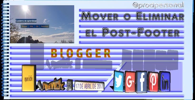 Eliminar o mover el pie de entrada del blog