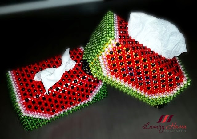 beaded watermelon tissue box handicrafts
