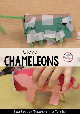 Second Grade STEM: Create a chameleon that not only changes color, but also changes into something- like the can of peas in the photo! Check the blog post for more information!