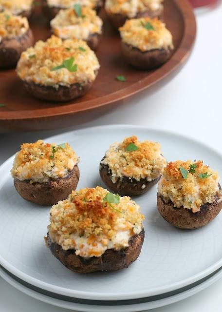 Cheesy Garlic Stuffed Mushrooms on white plate
