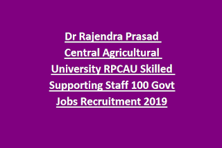 Dr Rajendra Prasad Central Agricultural UniversityRPCAU Skilled Supporting Staff 100 Govt Jobs Online Recruitment Exam 2019