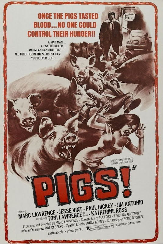Movie poster with ferocious pigs attacking