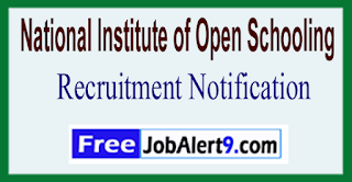 NIOS National Institute of Open Schooling Recruitment Notification 2017  Last Date 29-05-2017