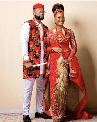 male, female in an Igbo traditional marriage attire