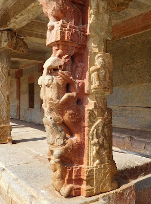 Yali or Gaja-Vyala pillars at the Bhoga Nandeeshwara temple, Karnataka