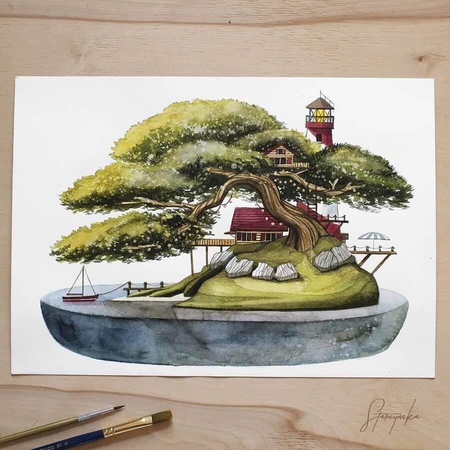 02-Bonsai-tree-lighthouse-Magdalena-Starzyńska-www-designstack-co