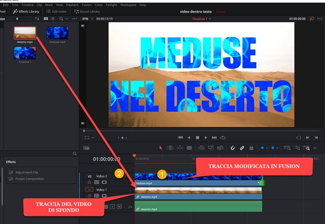 mostrare il testo con il video sovrimpresso