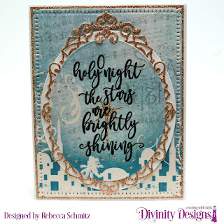 Stamp Set: Silent Night, Paper Collection: Christmas 2014, Custom Dies: Snowflake Sky, Ornate Ovals, Ovals