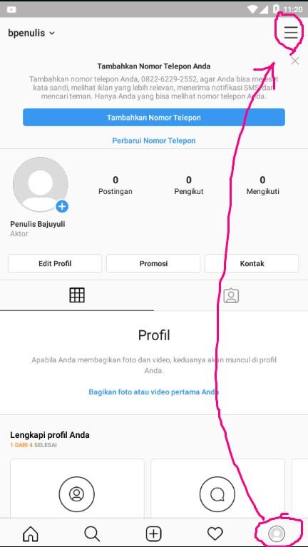 Menu Lainnya Pada Halaman Profile Akun Instagram.