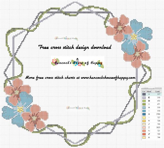 Free Boho Cross Stitch Pattern. Cross Stitch Wedding Pattern to Download